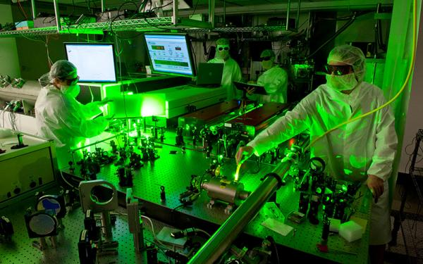 Scientists in a laser facility