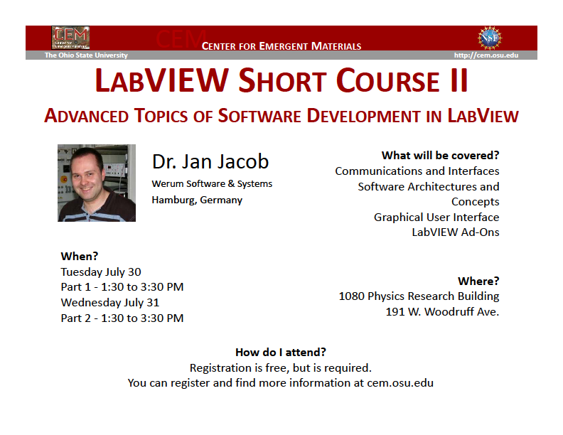 CEM hosts LabVIEW Short Course II - Advanced Topics of